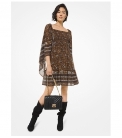 MICHAEL Michael Kors Paisley Georgette Smocked Scarf-Sleeve Dress