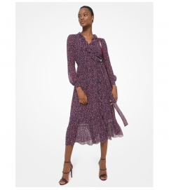 MICHAEL Michael Kors Floral Crinkled Georgette Ruffled Wrap Dress