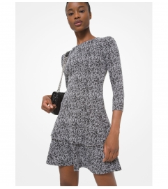 MICHAEL Michael Kors Tweed Jacquard Tiered Ruffle Dress