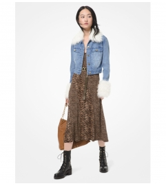 MICHAEL Michael Kors Faux Fur-Trim Denim Jacket