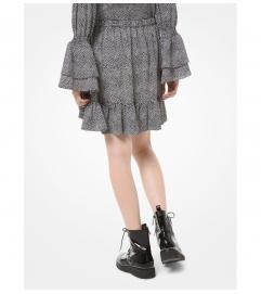 MICHAEL Michael Kors Mini Leaf-Print Crepe Skirt