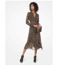 MICHAEL Michael Kors Leopard Georgette Wrap Dress
