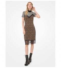 MICHAEL Michael Kors Mini Leopard Matte Jersey Slip Dress