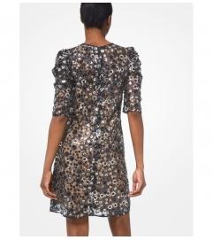 MICHAEL Michael Kors Sequined Mesh Puff-Sleeve Dress