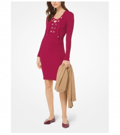 MICHAEL Michael Kors Lace-Up Ribbed Dress