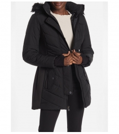 MICHAEL Michael Kors Logo Belted Faux Fur Trim Puffer Jacket