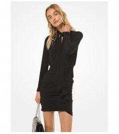 MICHAEL Michael Kors Matte Jersey Tie-Neck Ruched Dress
