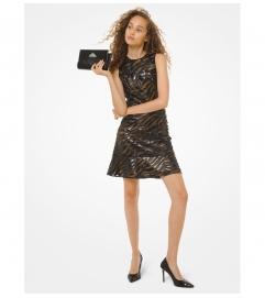 MICHAEL Michael Kors Faux Leather Appliquéd Mesh Dress