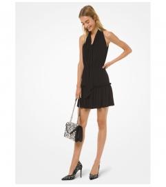MICHAEL Michael Kors Matte Jersey Tie-Neck Flounce Dress