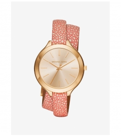 Michael Kors Slim Runway Gold-Tone And Leather Wrap Watch