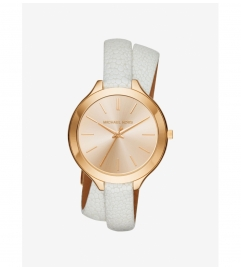 Michael Kors Slim Runway Gold-Tone And Leather Watch