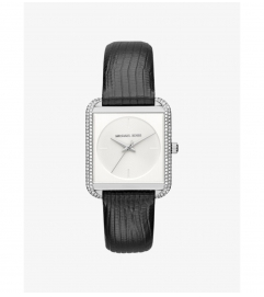 Michael Kors Lake Pavé Silver-Tone And Embossed-Leather Watch