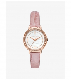 Michael Kors Cinthia Rose Gold-Tone And Embossed-Leather Watch