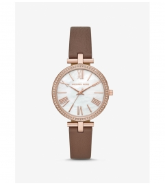 Michael Kors Maci Rose Gold-Tone and Leather Watch