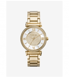 Michael Kors Catlin Pavé Gold-Tone Watch