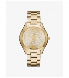 Michael Kors Slim Runway Scatter Logo Gold-Tone Watch