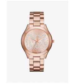 Michael Kors Slim Runway Scatter Logo Rose Gold-Tone Watch
