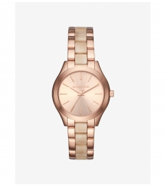 Michael Kors Mini Slim Runway Rose Gold-Tone and Acetate Watch