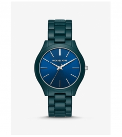 Michael Kors Slim Runway Teal Coated Watch