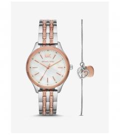 Michael Kors Lexington Two-Tone Watch and Logo Heart Bracelet Set