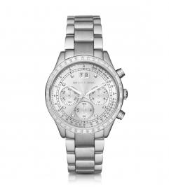Michael Kors  Brinkley Pavé Silver-Tone Watch