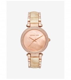 Michael Kors Parker Pavé Rose Gold-Tone And Acetate Watch