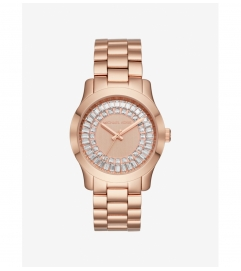 Michael Kors Runway Baguette Rose Gold-Tone Watch