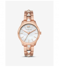 Michael Kors Runway Mercer Rose Gold-Tone and Pearl Watch