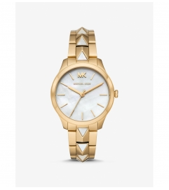 Michael Kors Runway Mercer Gold-Tone and Pearl Watch