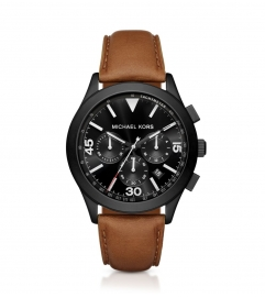 Michael Kors Gareth Black-Tone And Leather Watch