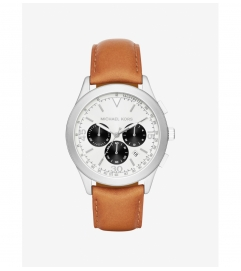 Michael Kors Gareth Silver-Tone Leather-Band Watch