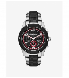 Michael Kors Caine Silver And Black-Tone Watch