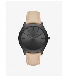 Michael Kors Slim Runway Black-Tone And Leather Watch