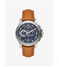 Michael Kors Ryker Silver-Tone And Leather Watch