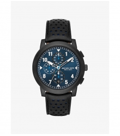 Michael Kors Paxton Black-Tone And Leather Watch