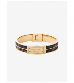 Michael Kors Tortoise Acetate And Gold-Tone Plaque Bracelet