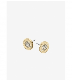 Michael Kors Pavé Logo Gold-Tone Stud Earrings