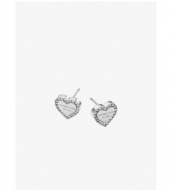 Michael Kors Pavé Silver-Tone Heart Charm Earrings