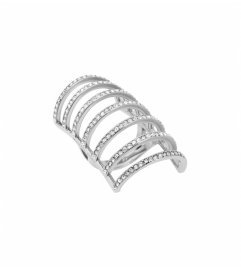 Michael Kors Pavé Silver-Tone Cage Ring
