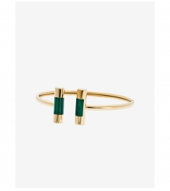 Michael Kors Malachite Gold-Tone Barrel Cuff