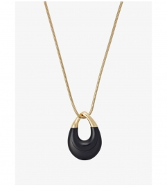 Michael Kors Gold-Tone Black Pendant Necklace