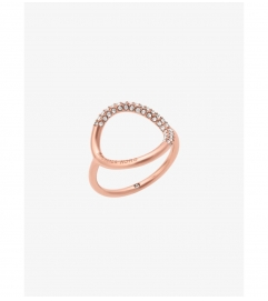 Michael Kors Rose Gold-Tone Pave Ring