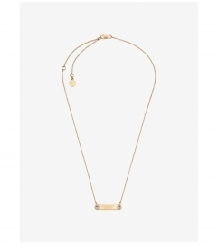 Michael Kors Pavé Gold-Tone Logo Plaque Necklace