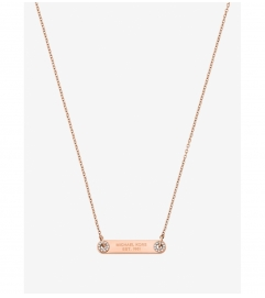 Michael Kors Pavé Rose Gold-Tone Logo Plaque Necklace