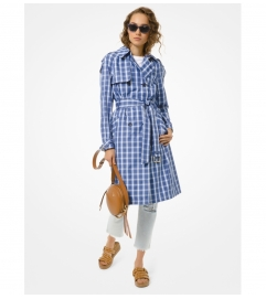 MICHAEL Michael Kors Plaid Twill Trench Coat