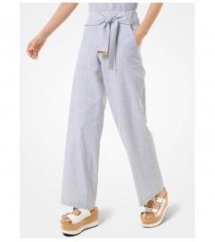 MICHAEL Michael Kors Striped Linen and Cotton Tie-Waist Pants