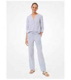 MICHAEL Michael Kors Striped Linen and Cotton Pajama Pants