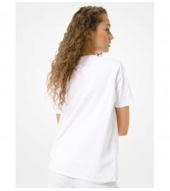 MICHAEL Michael Kors Studded Logo Cotton-Jersey T-Shirt