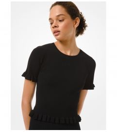 MICHAEL Michael Kors Ribbed Stretch Viscose Ruffle Trim Short-Sleeve Sweater