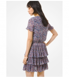 MICHAEL Michael Kors Floral Georgette Tiered Ruffle Dress